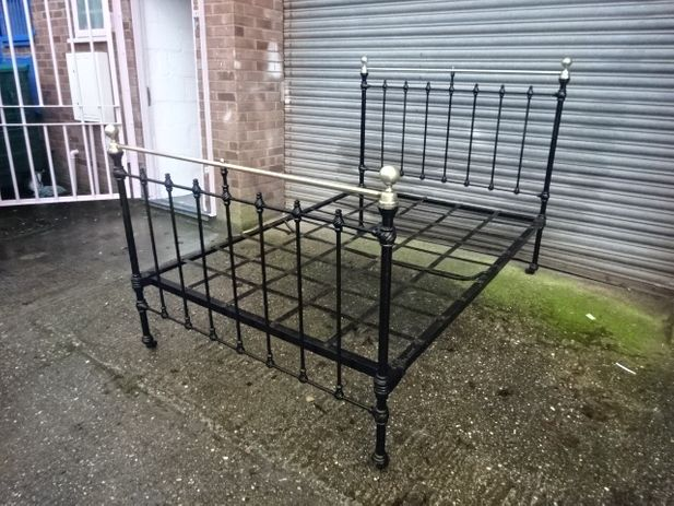 Antique Victorian Cast Iron & Brass Double Bed