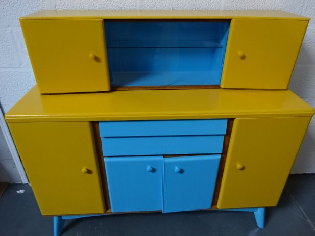 Retro Utility Side board with Top Cabinet